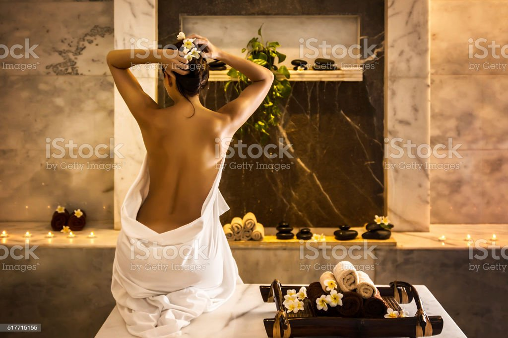 Girl in hammam stock photo