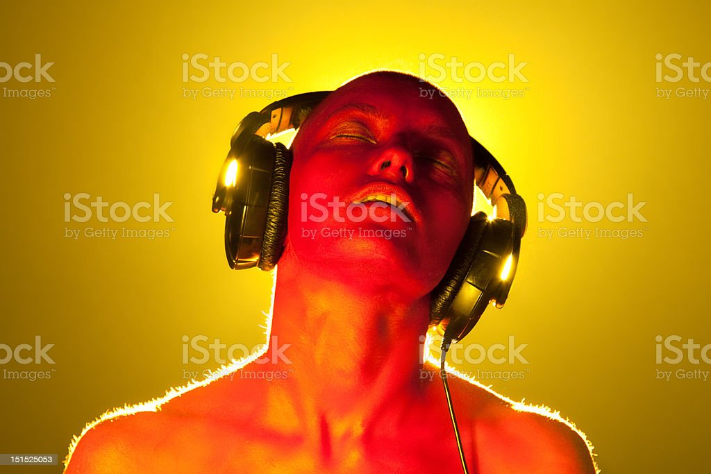 Girl in headphones. royalty-free stock photo