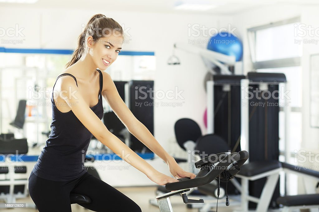 Girl in health club royalty-free stock photo