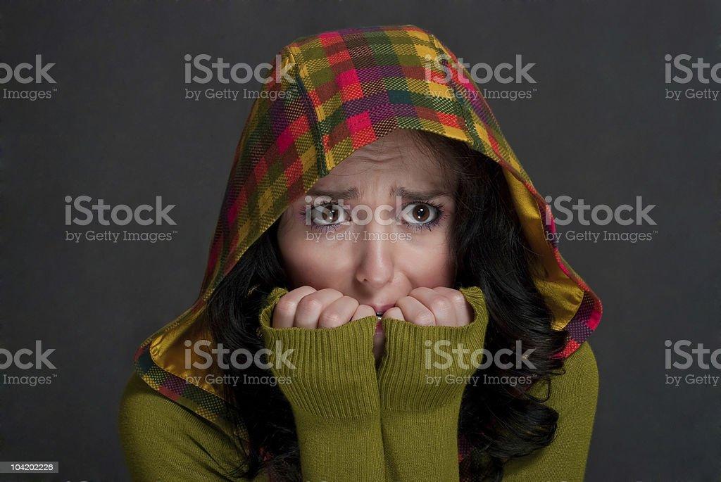 girl in  hood of tattersall stock photo