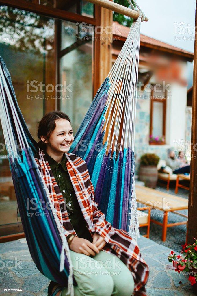Girl in hummock stock photo