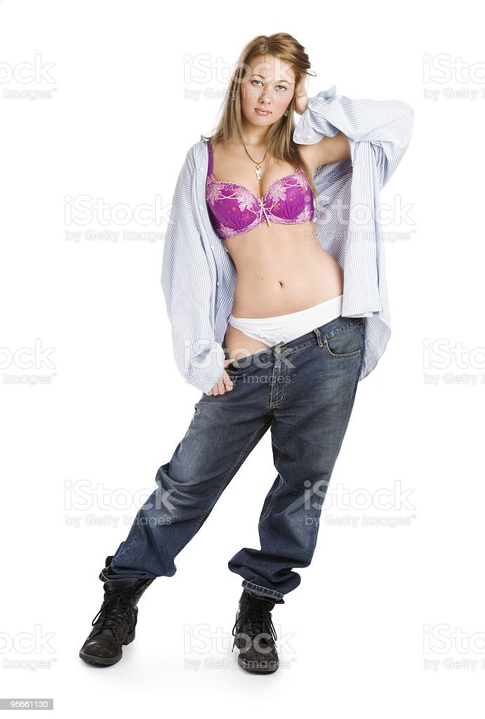 Girl in jeans and white panties royalty-free stock photo