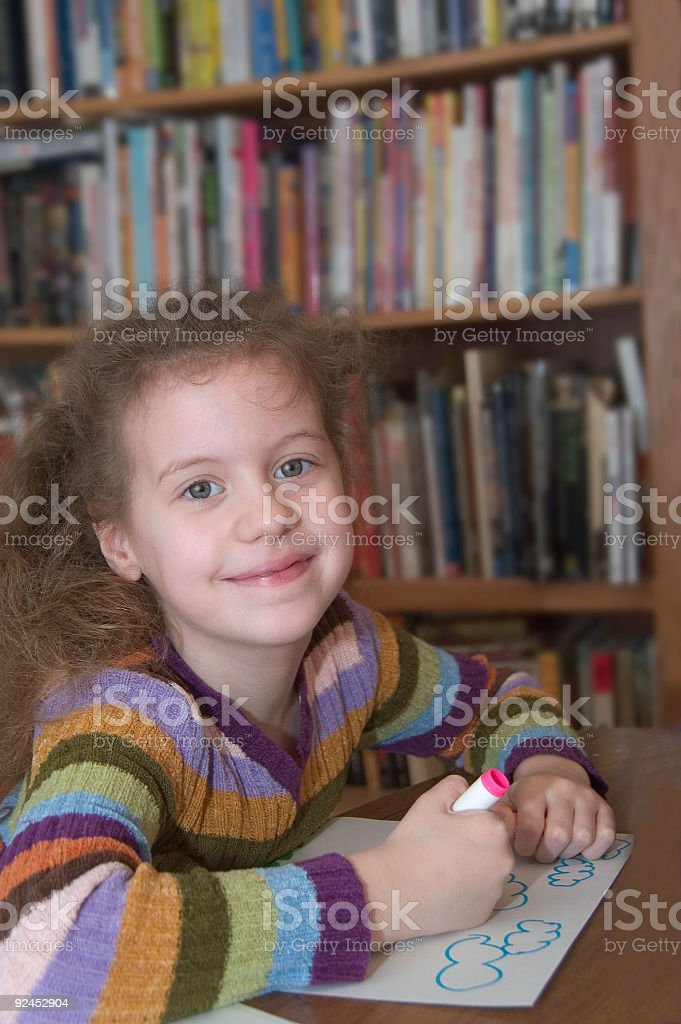 Girl in Library Classroom royalty-free stock photo