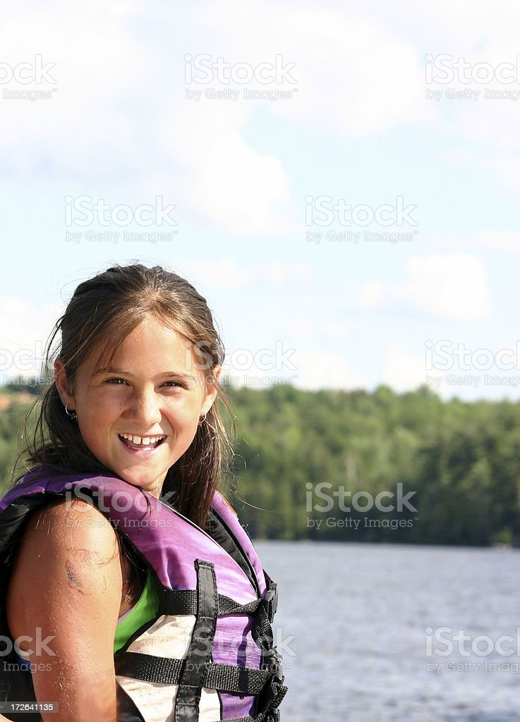 girl in life jacket royalty-free stock photo
