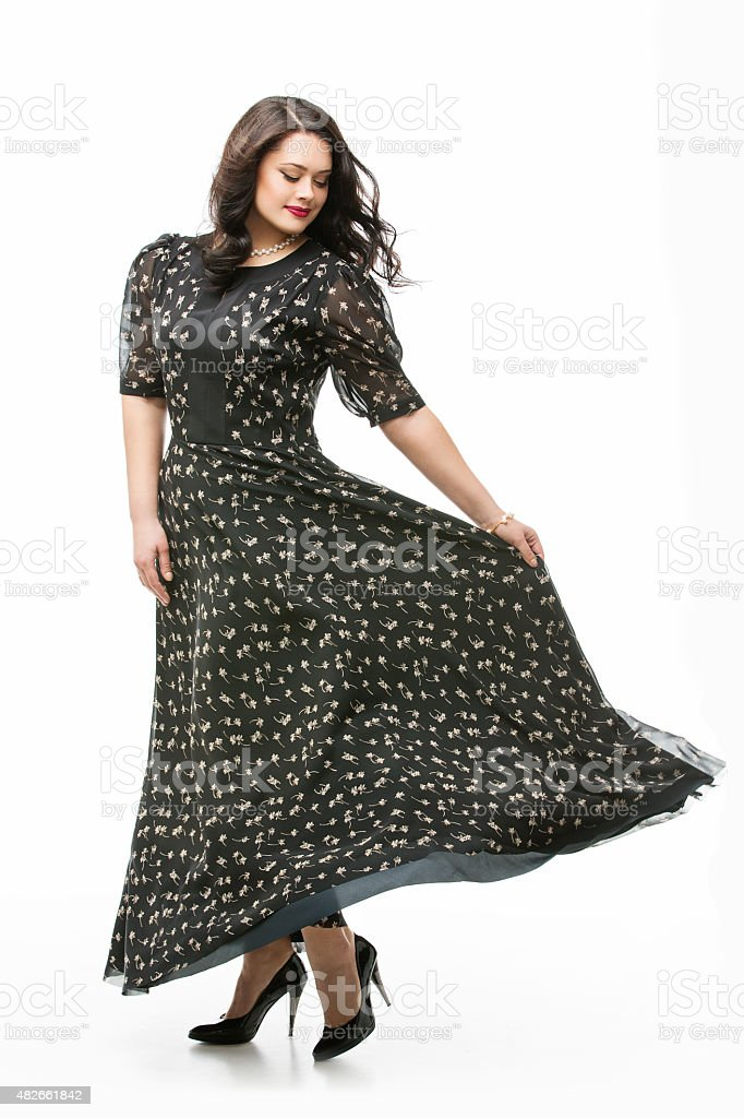 Girl in long dress stock photo