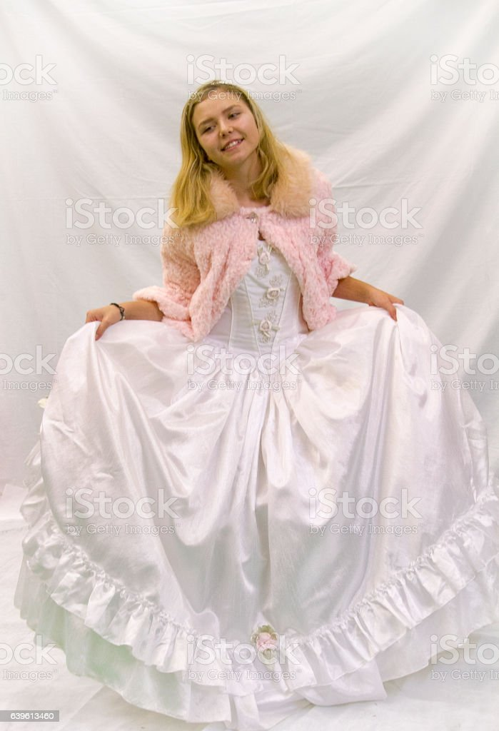 Girl in long gown stock photo