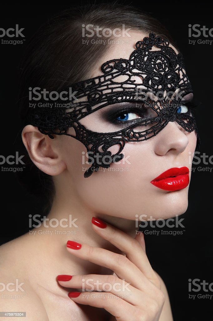 Girl in mask stock photo