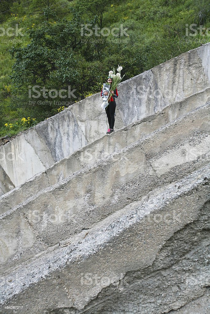 girl in middle of the concrete royalty-free stock photo