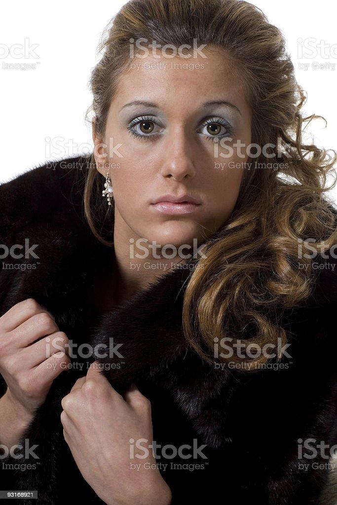 Girl in mink stock photo