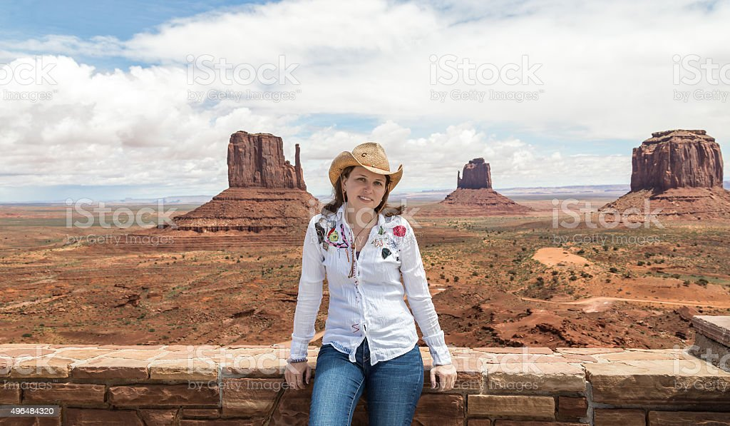 Young woman wearing straw hat in Monumet Valley
