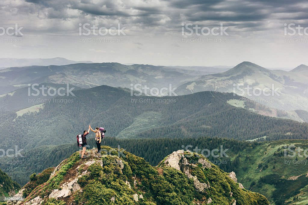 Girl in mountains stock photo