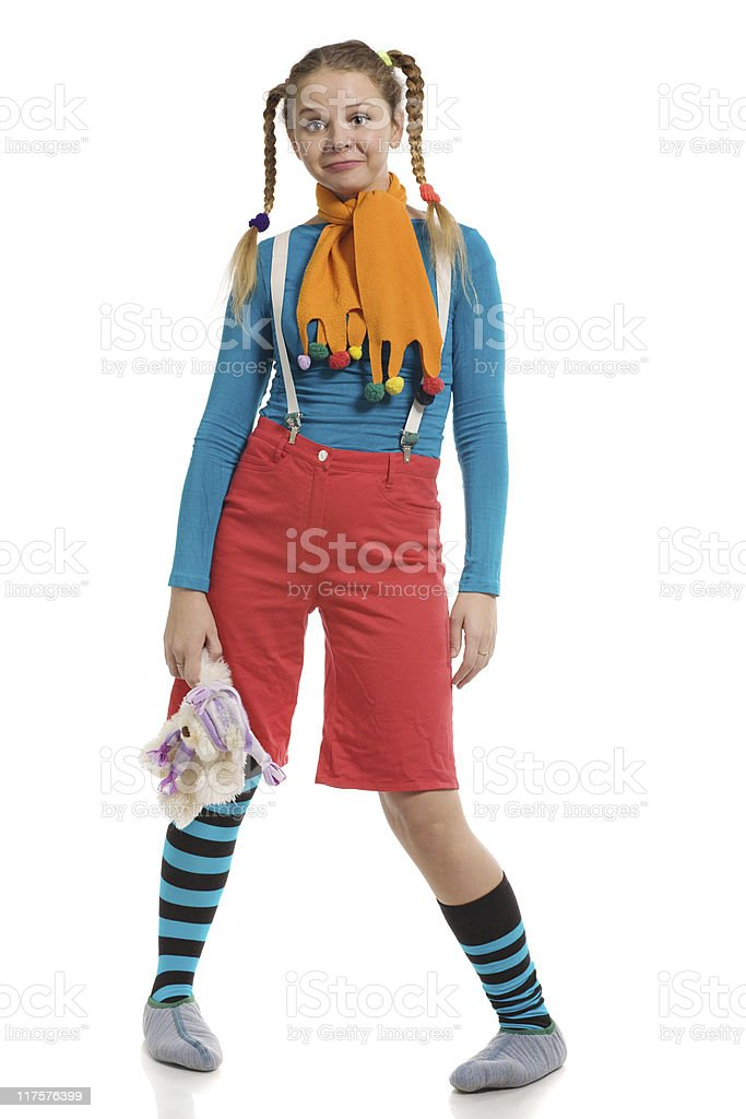 girl in multi-coloured clothes stock photo