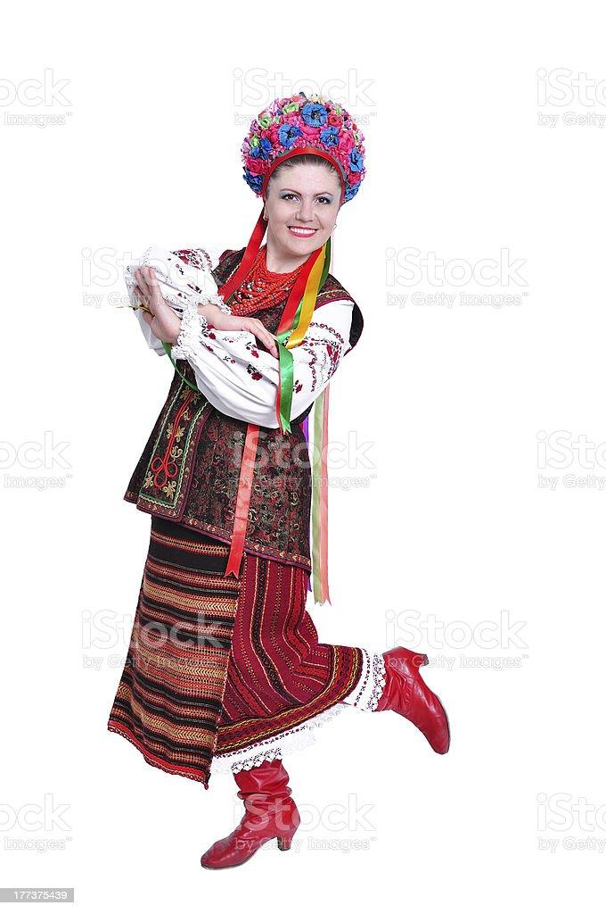 Girl in national ukrainian (russian) costume stock photo