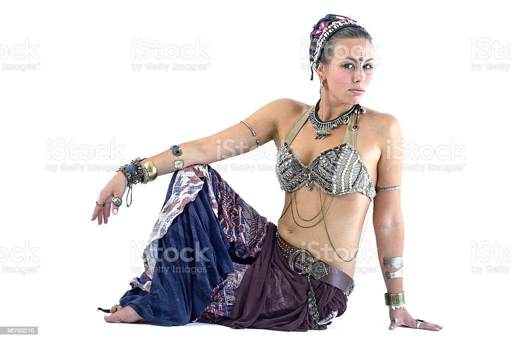 Girl in native clothes posing royalty-free stock photo