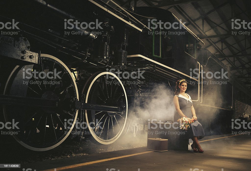 girl in old train station royalty-free stock photo