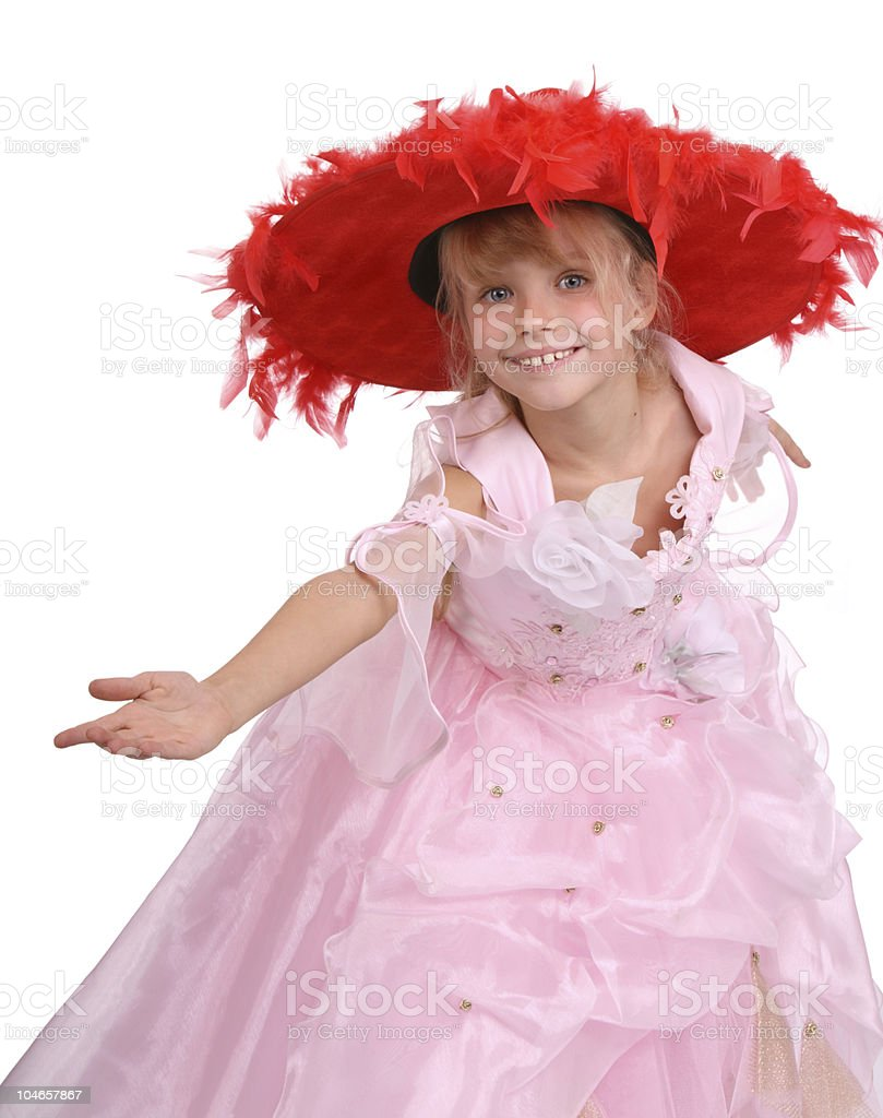 Girl in pink dress and red hat royalty-free stock photo
