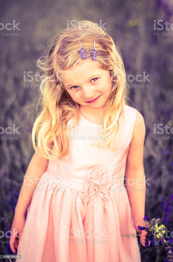 girl in pink dress stock photo