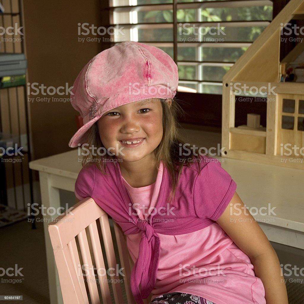 Ragazza in Cappello rosa foto stock royalty-free
