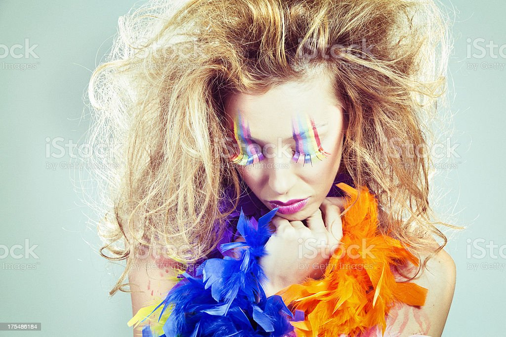 Girl in rainbow paint royalty-free stock photo
