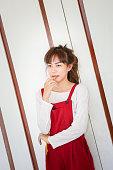 girl in red bib