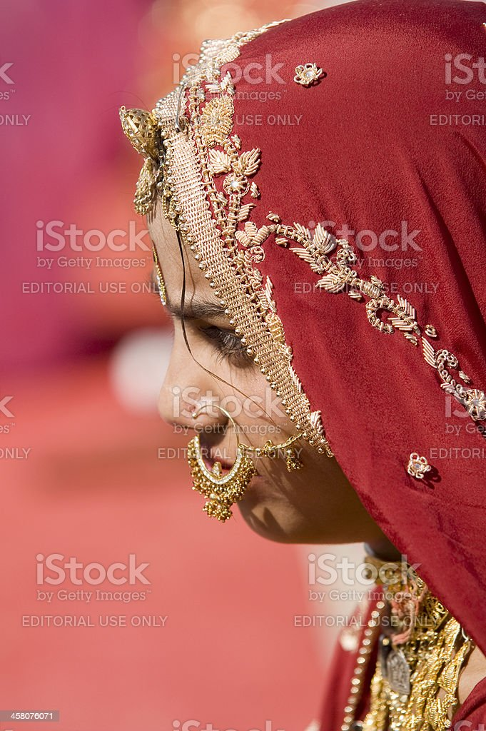 Girl in Red Sari royalty-free stock photo