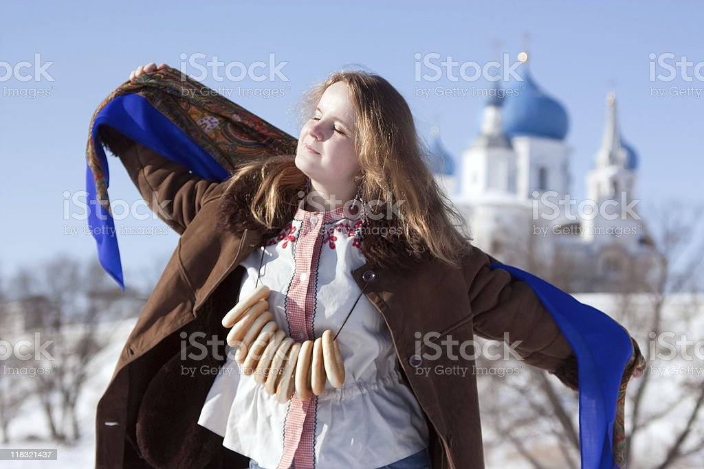 girl in russian traditional kerchief stock photo