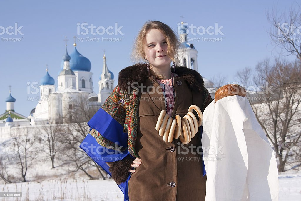 girl in russian traditional with loaf stock photo