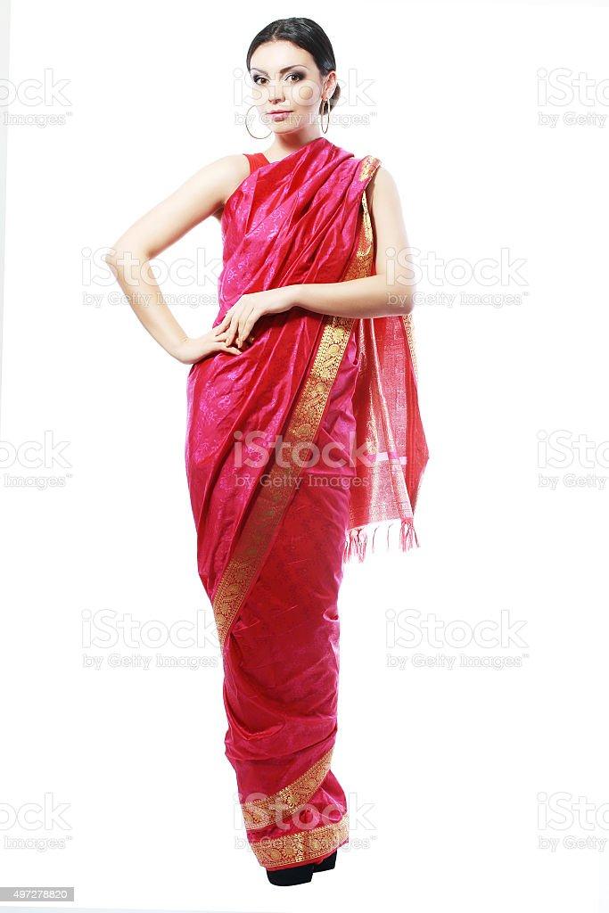 girl in sari stock photo