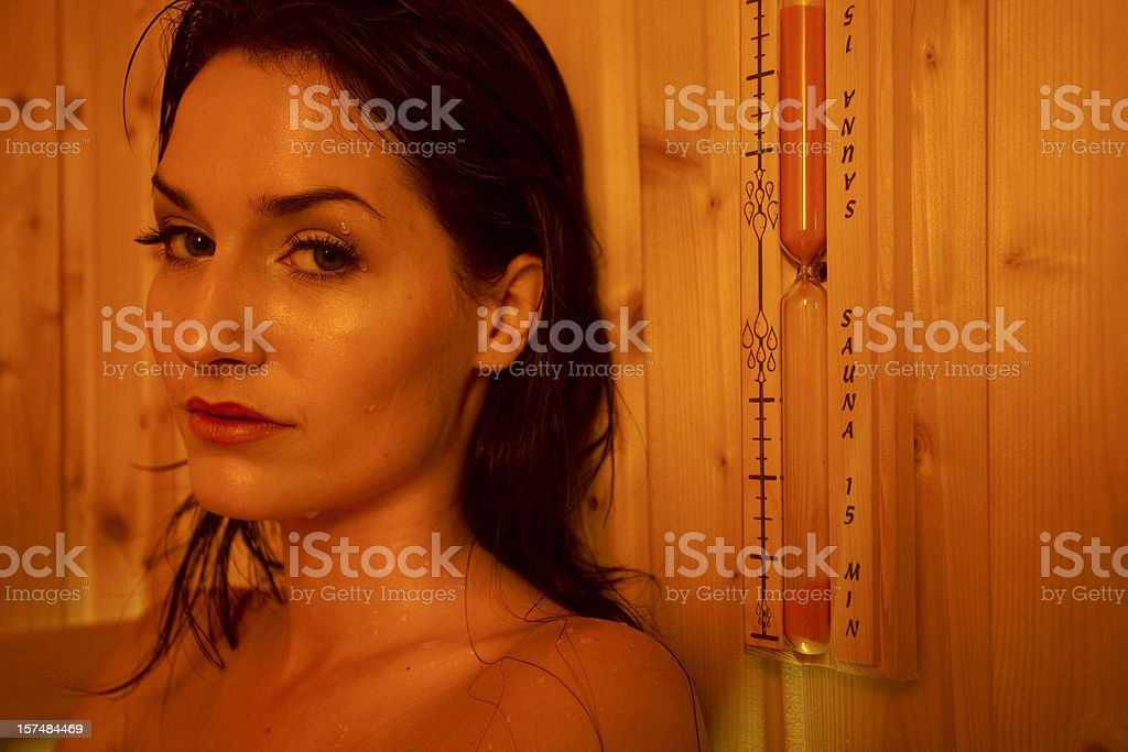 Girl in Sauna royalty-free stock photo