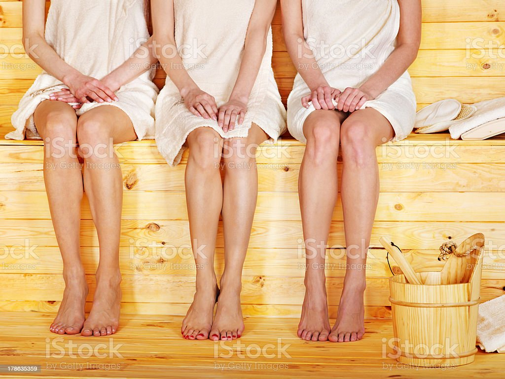 Girl in sauna. stock photo