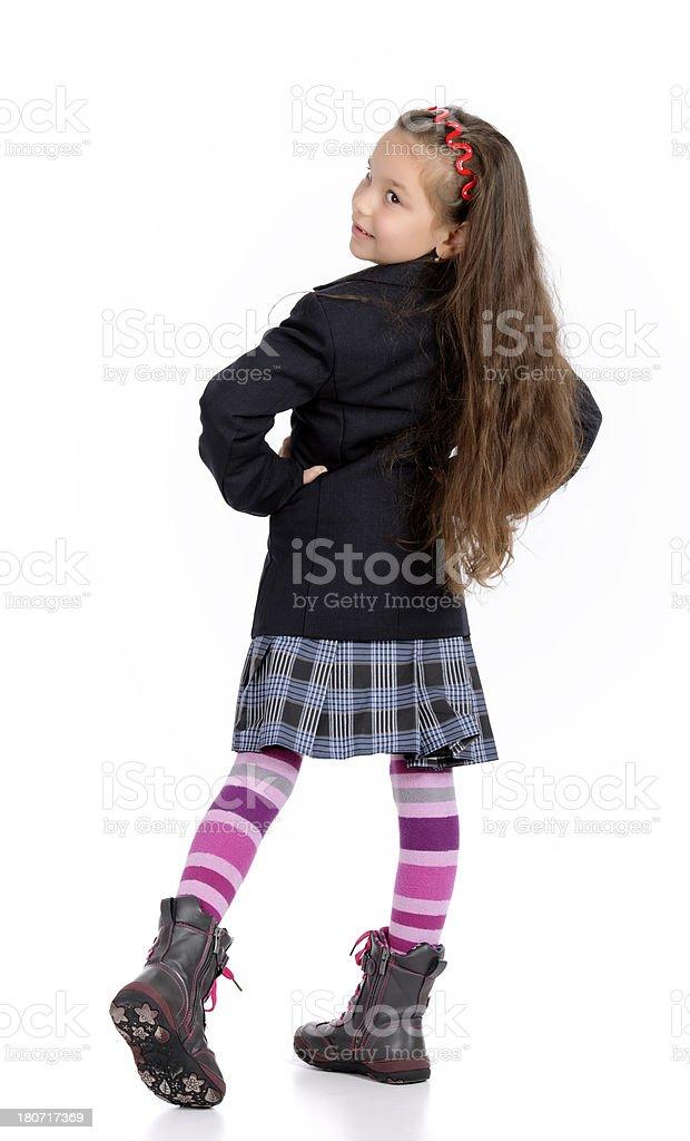 girl in school uniform royalty-free stock photo