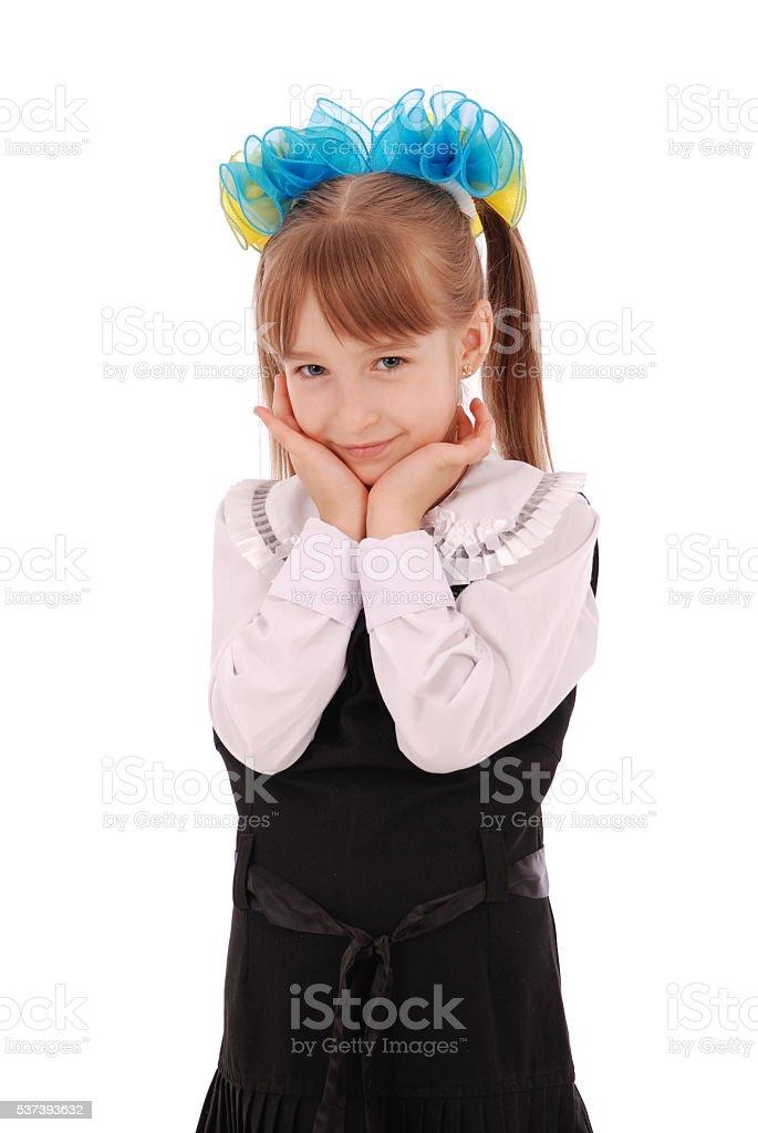Girl in school uniform stock photo
