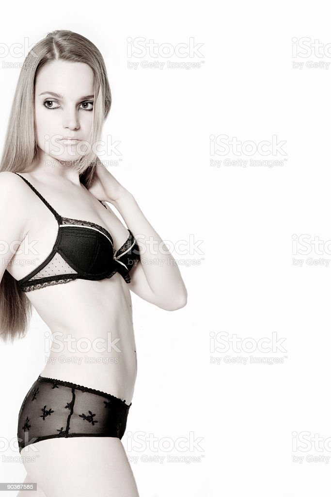 Girl in sensual lingerie stock photo