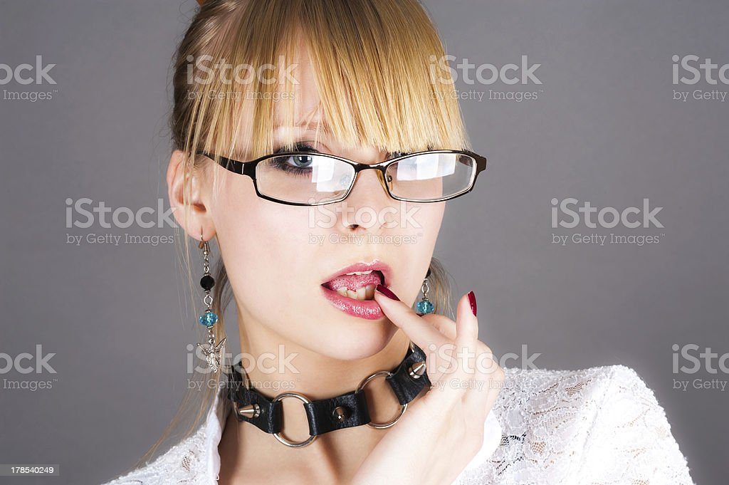 girl in sexy secretary role royalty-free stock photo