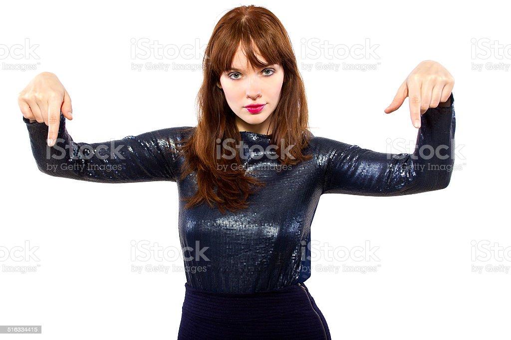 Girl in Shiny Dress Advertising stock photo