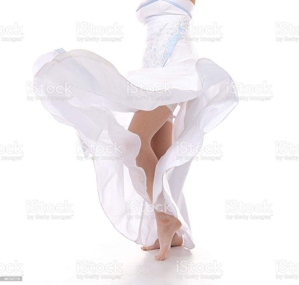 girl in silk gown stock photo