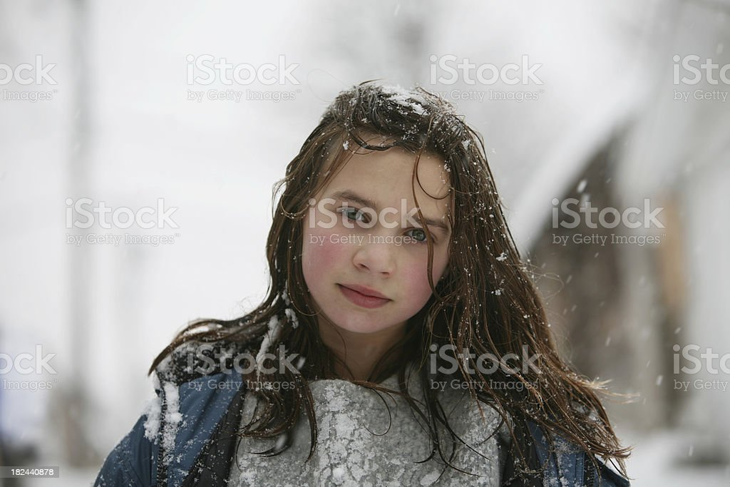 Girl in Snowstorm royalty-free stock photo