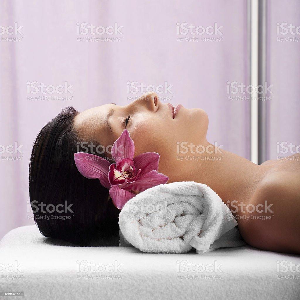 Girl in spa center royalty-free stock photo