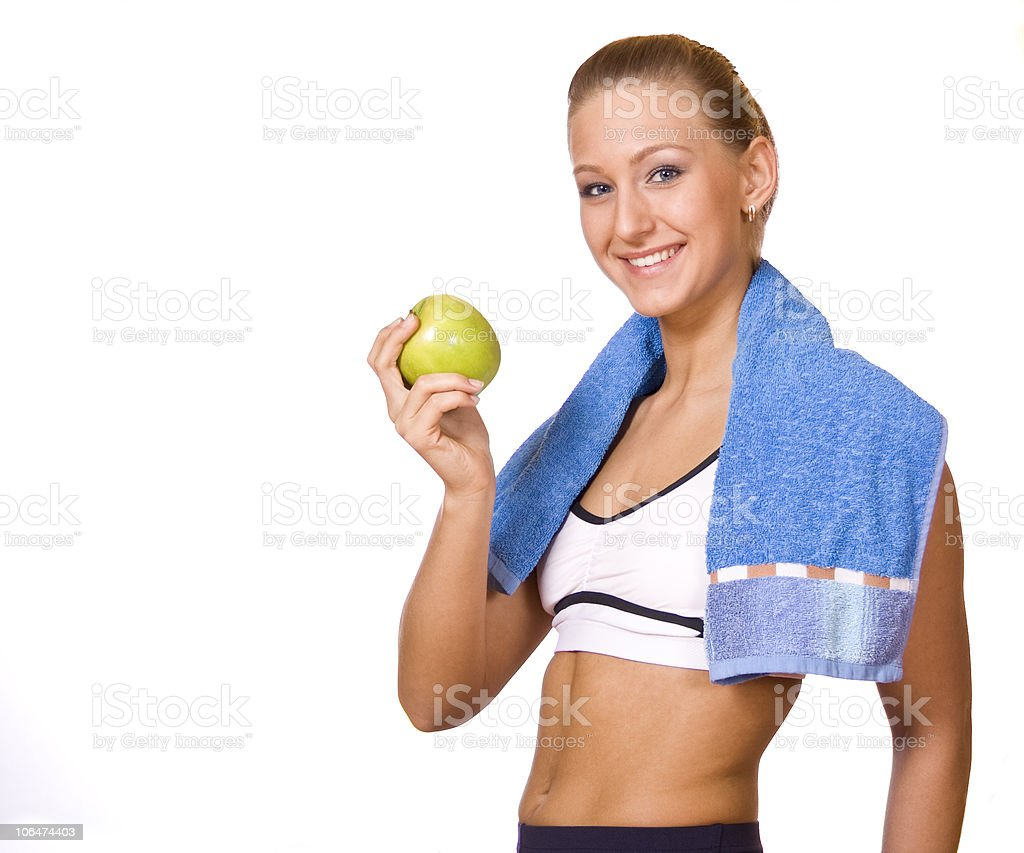 girl in sports with apple royalty-free stock photo