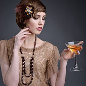 girl in style 20 with short hair in elite old-style