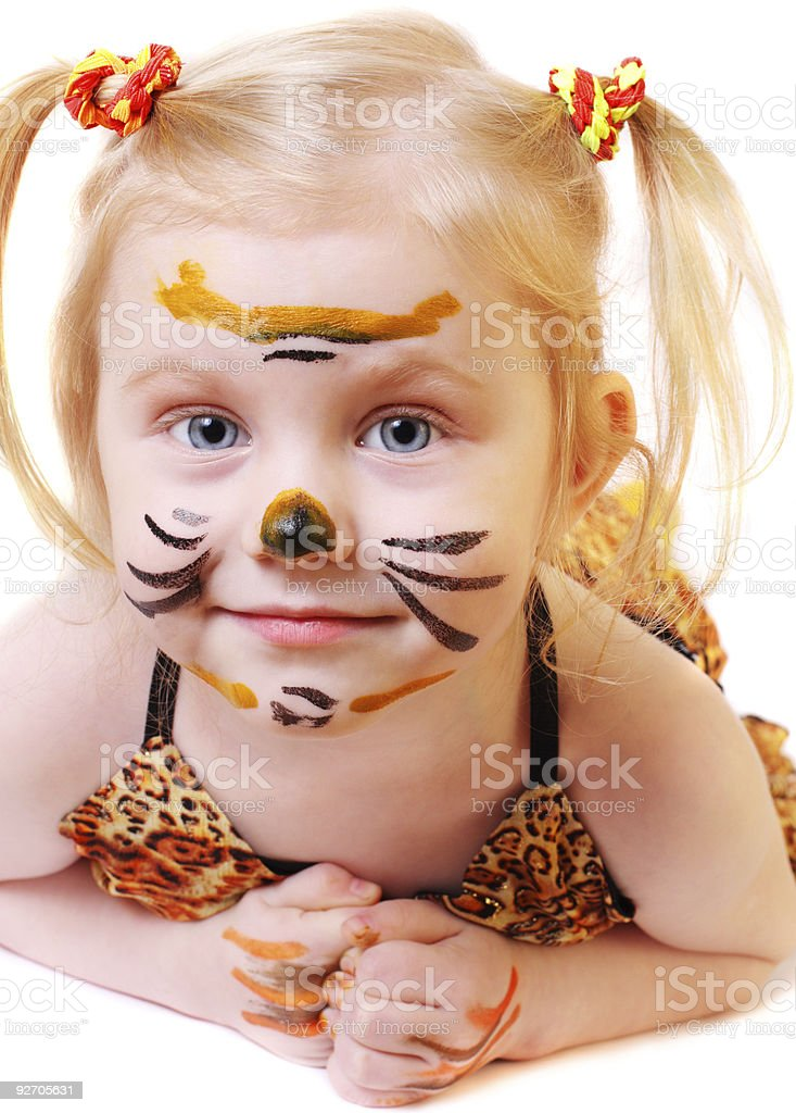 girl in suit of tiger royalty-free stock photo
