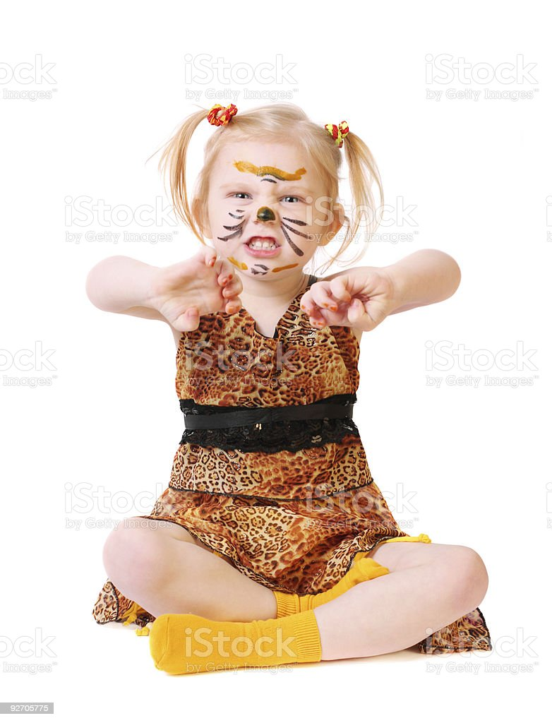 girl in suit of tiger stock photo