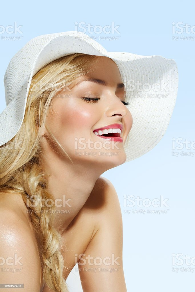 Girl In Summer Hat royalty-free stock photo