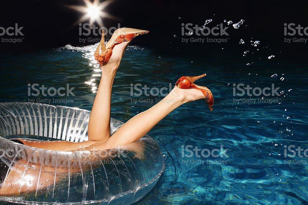 girl in swimmingpool stock photo