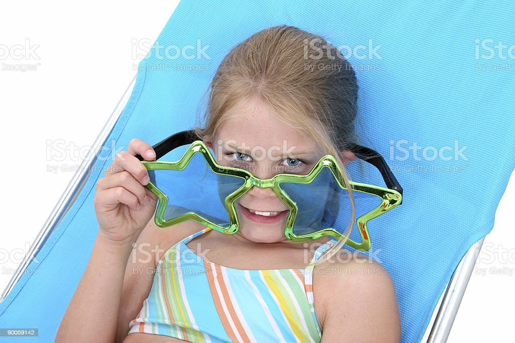 Girl In Swimsuit and Funny Glasses stock photo