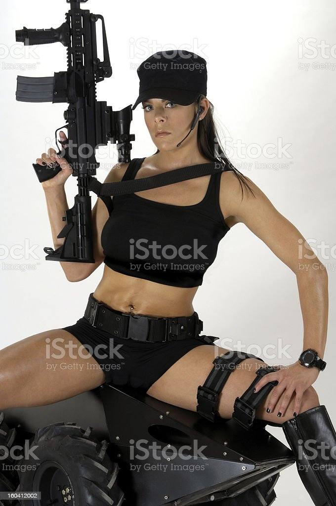 Girl in Tactical Gear stock photo