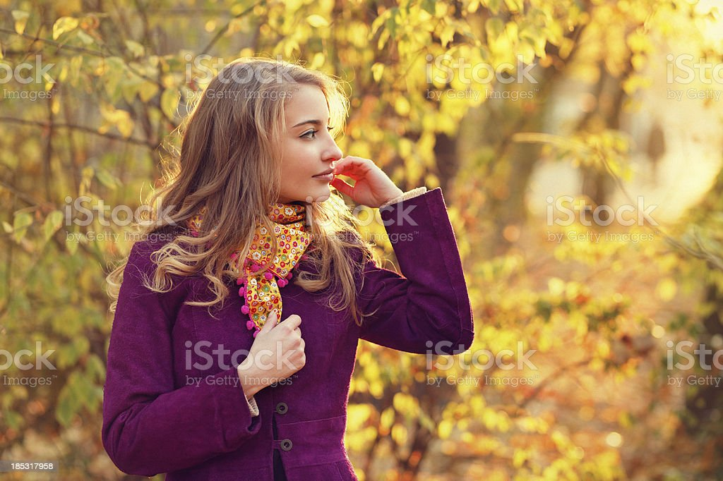 girl in the autumn sunshine royalty-free stock photo
