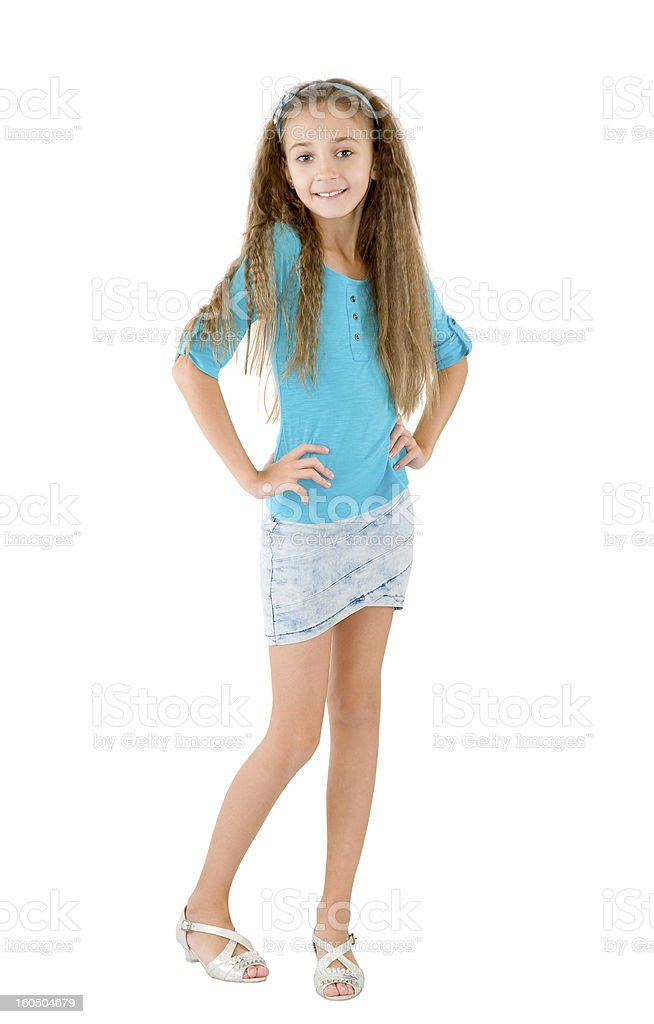 Girl in the blue blouse royalty-free stock photo