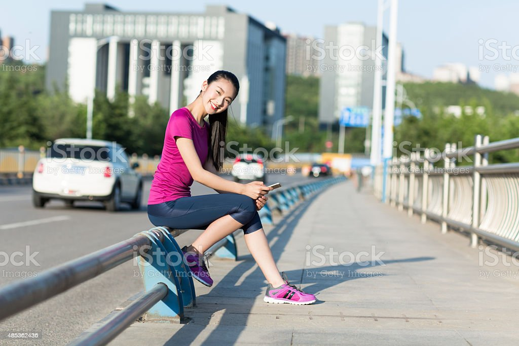 girl in the business district stock photo