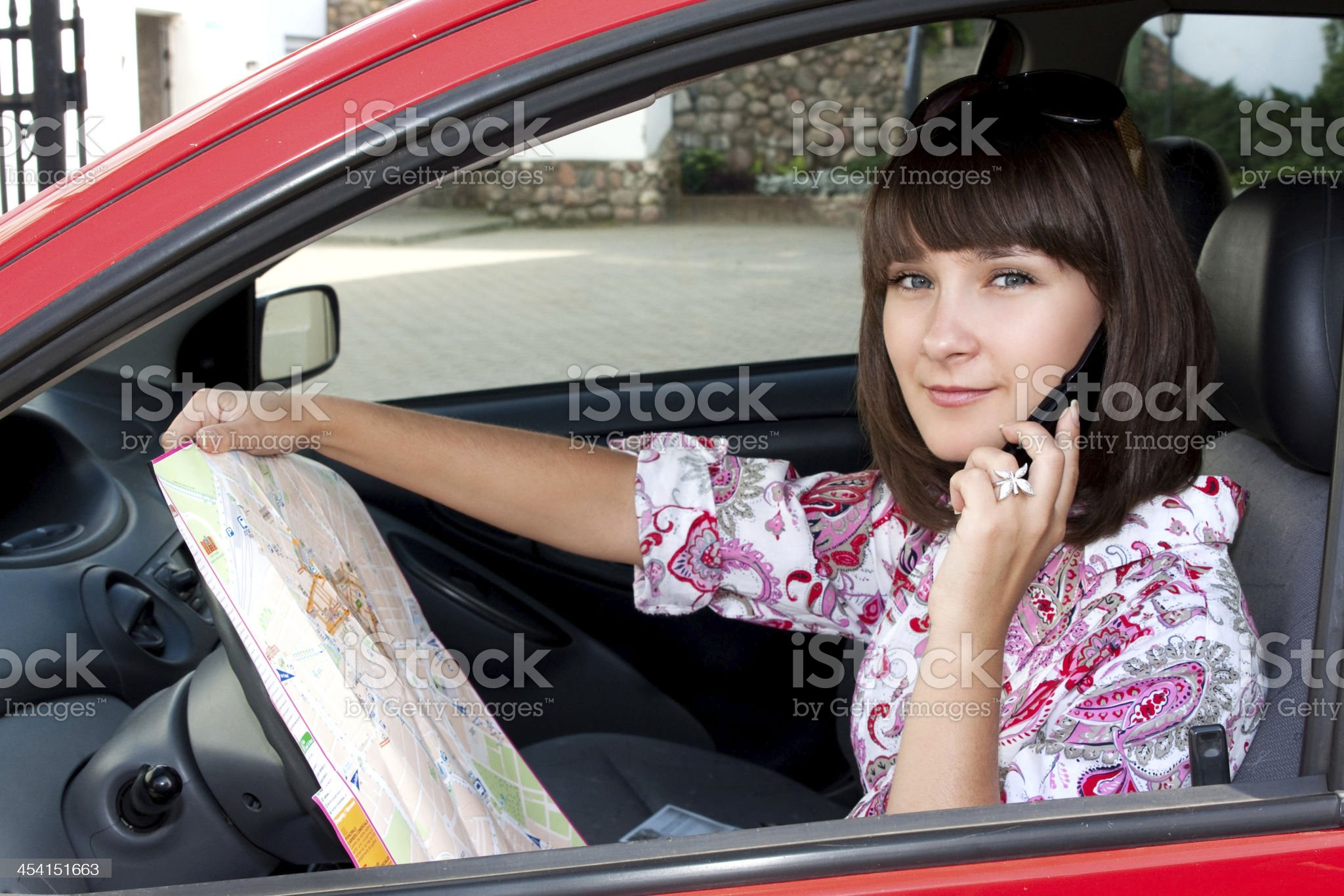 Girl in the car royalty-free stock photo
